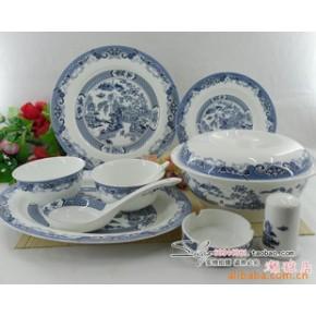 景德镇 56头优质骨瓷餐具釉中彩 古典园林
