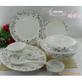 景德镇 56头优质陶瓷餐具  银叶
