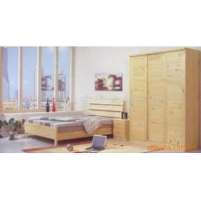 横条双人床,四门推拉衣柜