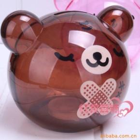 批发超可爱熊储蓄罐透明零钱罐球形卡通熊(咖啡色)
