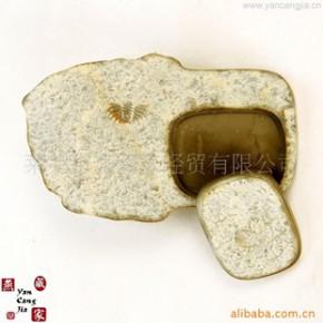 文房四宝自然化石砚台 天然化石工艺品礼品收藏品