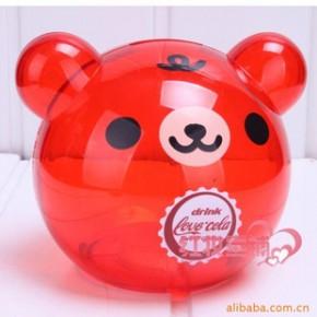 批发可爱熊储蓄罐时尚透明零钱罐球形卡通熊(红色)