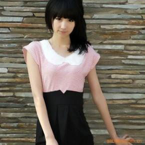 一件代发 原单瑞丽款0189红条纹拼接款高腰连身裙