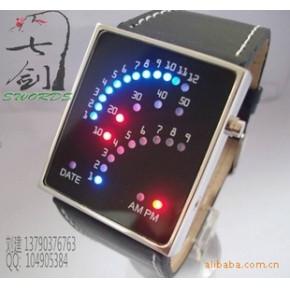 LED时间显示 五彩显时 日历 手镯手表(特大图)