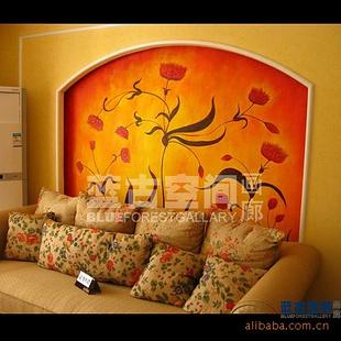 【重庆墙绘沙发背景,欧式风格背景墙