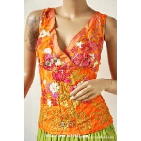 【长期批发】 珠绣包边大Y领吊带衫 泰国珠绣服装