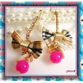 新款热卖热价时尚瑞丽爱的浪漫可爱糖果色蝴蝶结耳环