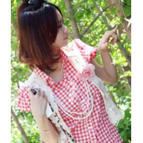 日韩杂志款 韩版唯美百搭 短袖格子衬衫 好质量清仓包邮