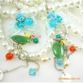 法国Julie风格浪漫情怀淡雅蓝色花朵玉石珍珠耳环