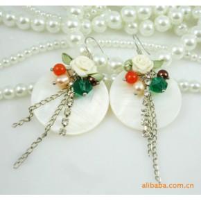 波西米亚风格 天然白色贝壳珍珠施华洛水晶耳环