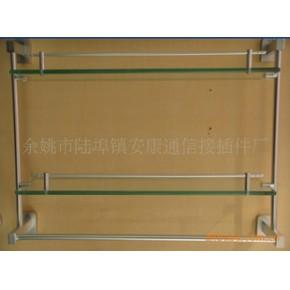 太空铝玻璃置物架双层带杆置物架