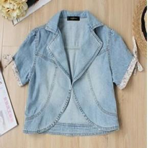2011春装新款 日本原单 碎花袖口系带短款牛仔外套