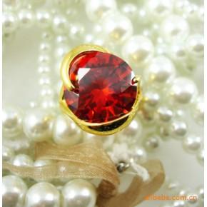 时尚螺旋圆形施华洛世奇水晶戒指 很有范韩国进口
