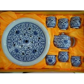 景德镇 青花 骨瓷釉中双层杯托盘茶具套装