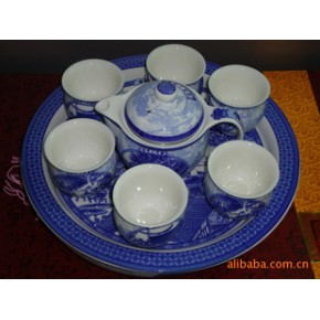 促销特价 景德镇 优质骨瓷双层杯8头托盘茶具套装