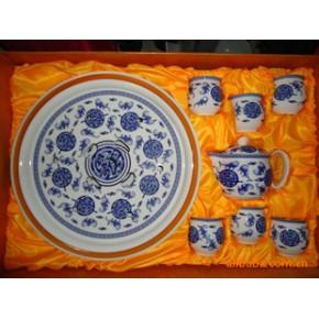 景德镇优质骨瓷双层杯8头托盘茶具套装《五福临门》