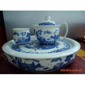 优质骨瓷双层杯8头托盘茶具套装《青花园林》
