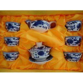 陶瓷釉中8头普洱茶具-青花凤凰