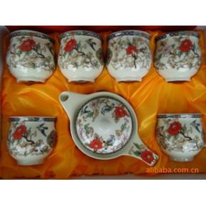 陶瓷双层杯7头茶具 《鸟语花香》