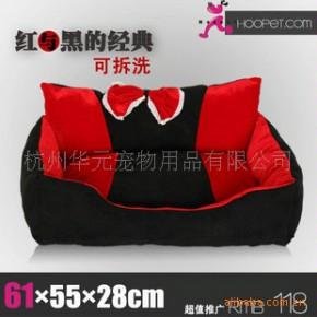 批发供应宠物用品 红黑相间高靠背宠物窝可拆洗宠物床