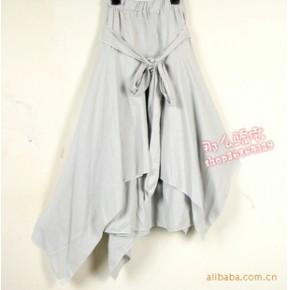 亚麻棉麻大摆裙·半身裙·长裙·不规则裙摆带腰带