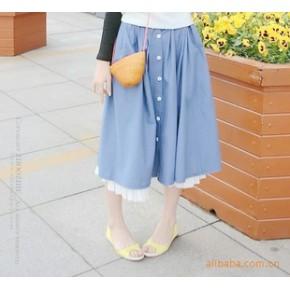 亚麻棉麻半身裙·长裙·两件套花边纽扣装饰