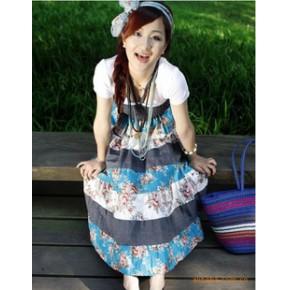 亚麻裙半身裙长裙田园小碎花波西米亚裙大摆裙牛仔裙