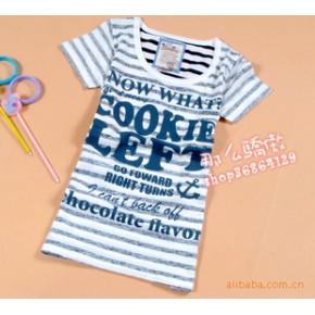 外贸原单长款大码宽松休闲横条纹字母T恤