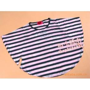 外贸原单加大码宽松休闲横条纹蝴蝶袖T恤