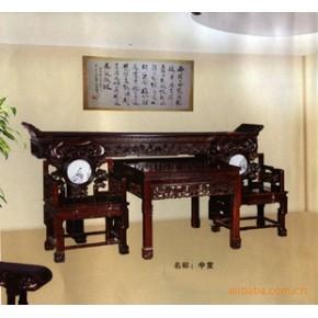 红酸枝中堂 桌子 实木 山水花卉