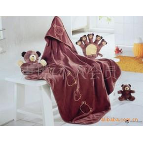 婴儿卡通双层超细纯棉毛巾抱被/抱毯/浴巾/包巾/包