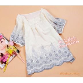 绣花亮片 宽松大号短袖衬衫·民族风娃娃衫装女款夏