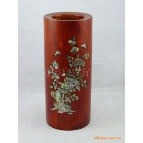 【见图如品】嵌花红木笔筒 木雕 文具用品 红花梨木