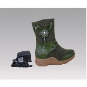 全真牛皮充电保暖童鞋,电热保暖鞋