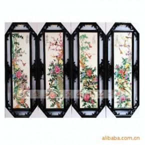 景德镇粉彩四季花鸟挂屏装饰画墙壁画有框画