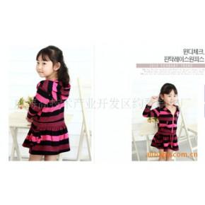 2010秋装新款女童韩国连衣裙针织条纹