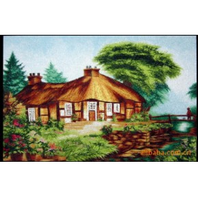 电脑绣花类工艺品(油画类)-桥边小屋