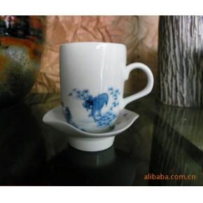 【特价陶艺】现代青花陶艺杯(带托)多画面
