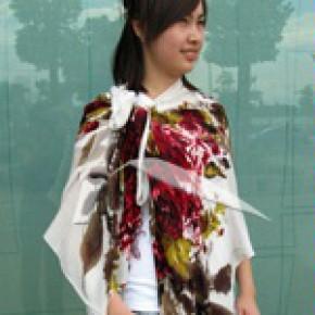 竹纤维丝印围巾 柔软舒适 时尚 健康