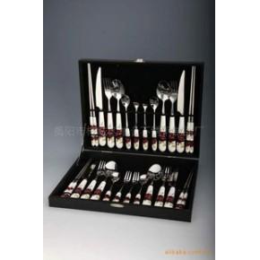 销售环保型礼盒陶瓷柄刀叉勺24件套
