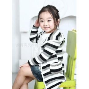 韩国韩版童装 出口韩国针织条纹开衫