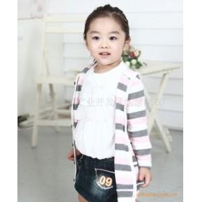 韩国韩版童装 女童针织条纹开衫