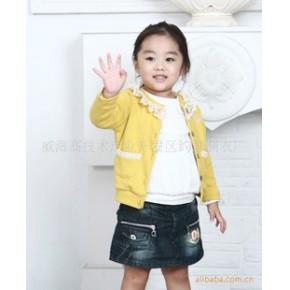 韩国韩版童装 纯棉蕾丝女童开衫 直批