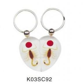 时尚K03昆虫琥珀情侣对钥匙扣