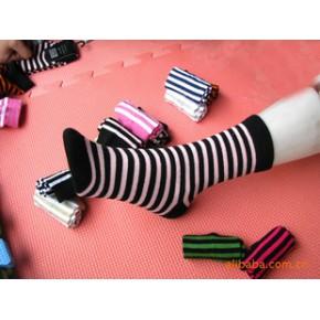 新款外贸条纹纯精梳棉女袜