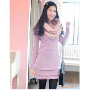 2011秋冬新款 韩版蕾丝花形女装 修身淑女公主长袖连衣裙子