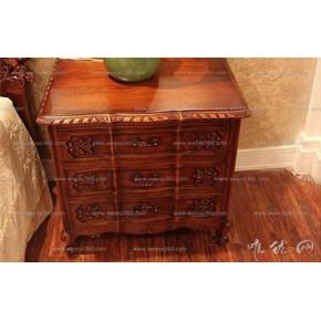 定制美式复古风格精致雕花实木床头柜