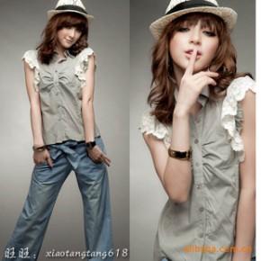 Y2578 蕾丝袖 衬衫背心 日韩女装