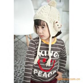 韩国进口童装可爱圆领字母条纹笑脸童T恤