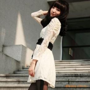 2010新款 蝴蝶结装饰 气质全蕾丝秋冬连衣裙